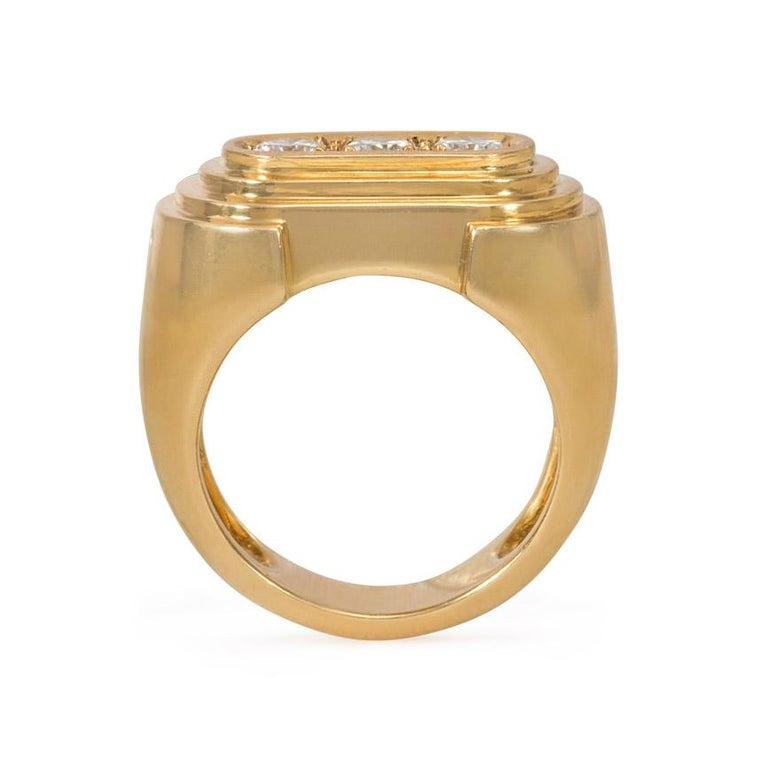 Hermès Retro Style Gold and Three-Stone Diamond Ring In Good Condition For Sale In New York, NY