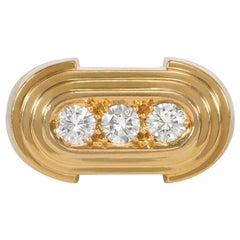 Hermès Retro Style Gold and Three-Stone Diamond Ring