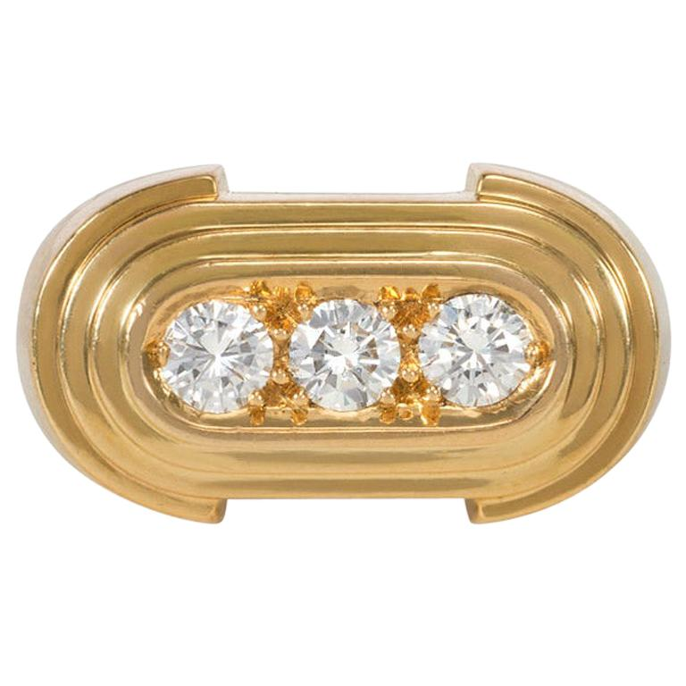 Hermès Retro Style Gold and Three-Stone Diamond Ring For Sale