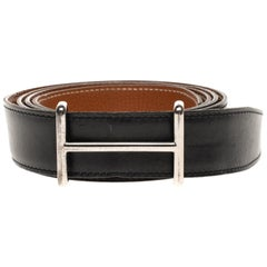 Hermès reversible belt in black calfskin & Togo gold with silvery large H buckle