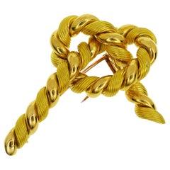 Hermes Ribbon Motif 18 Karat Yellow Gold Brooch