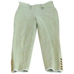 Hermes Riding Pant 5 Clou de Selle Ankle Snaps Pale Celadon Green Vintage 40/6