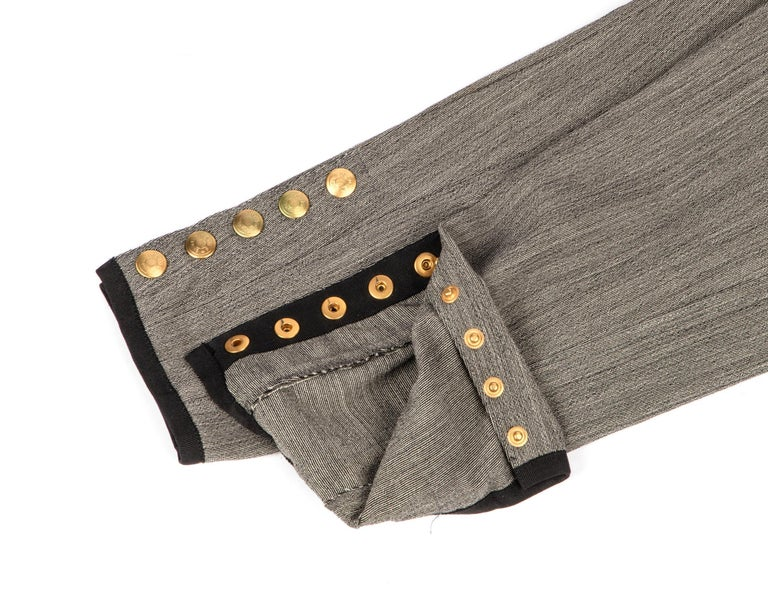 Gray Hermes Riding Pant Vintage 5 Coveted Gold Clou de Selle Ankle Snaps  38 / 4 For Sale