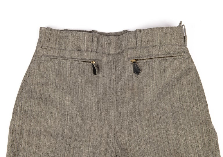 Hermes Riding Pant Vintage 5 Coveted Gold Clou de Selle Ankle Snaps  38 / 4 In Excellent Condition For Sale In Miami, FL