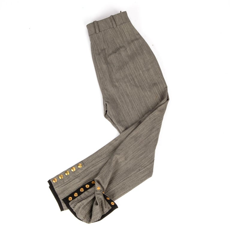 Hermes Riding Pant Vintage 5 Coveted Gold Clou de Selle Ankle Snaps  38 / 4 For Sale 1