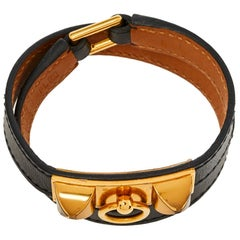 Hermes Rivale Black Leather Gold Plated Double Tour Bracelet S
