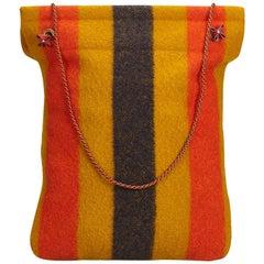 Hermes Rocabar Aline striped wool Grooming Bag
