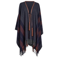 Hermes Rocabar Poncho Unisex Casaque General Purpose Gris New
