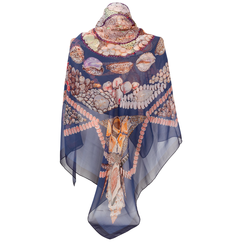 Hermes Rocaille Blue Silk Chiffon Oversize Shawl Scarf