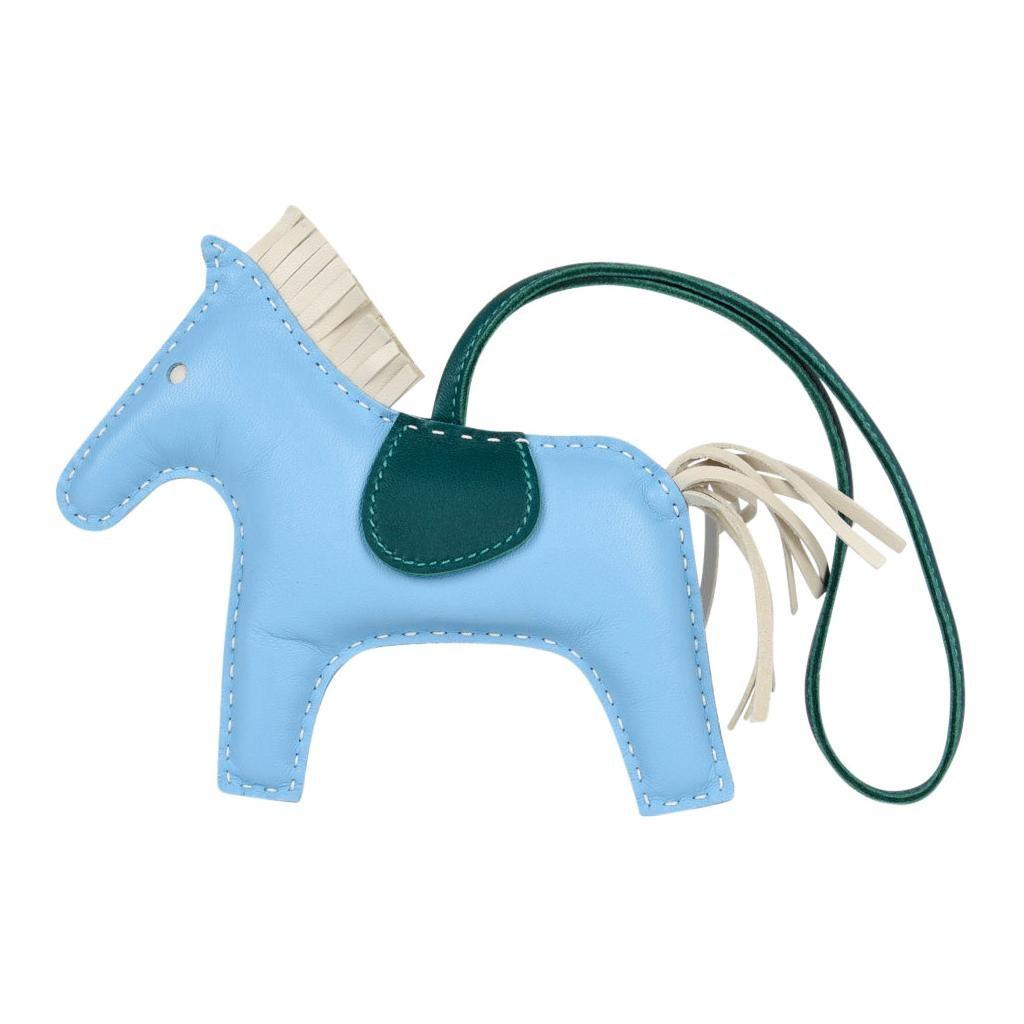 Hermes Rodeo Bag Charm MM Blue Celeste Malachite Craie Horse