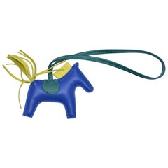 Hermes Rodeo Bag Charm PM Blue Electrique  Rodeo Horse  NEW