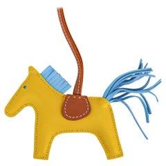 Hermes Rodeo PM Bag Charm Jaune de Naples / Blue Celeste  / Gold