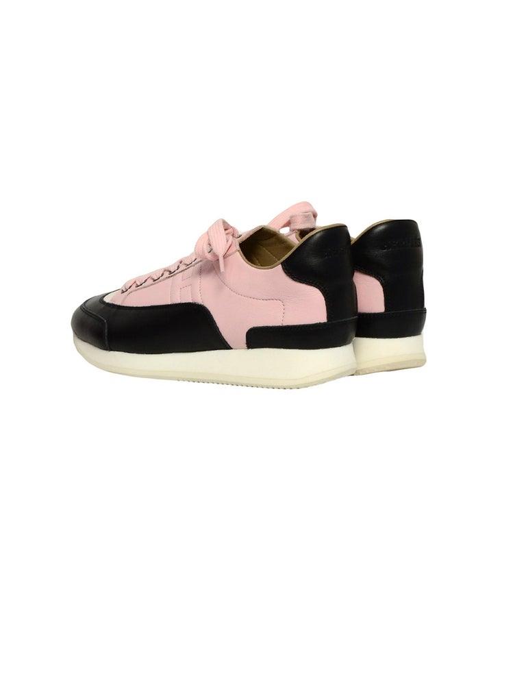 Beige Hermes Rose Aube Pink/Black/White Calfskin Goal Sneakers sz 37.5 rt $1,000 For Sale