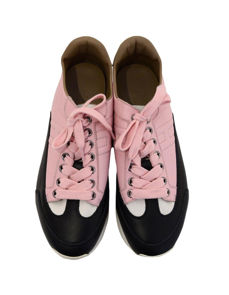 Hermes Rose Aube Pink/Black/White Calfskin Goal Sneakers sz 37.5 rt $1,000 In Excellent Condition For Sale In New York, NY