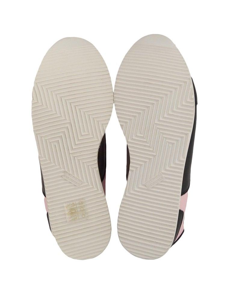 Women's Hermes Rose Aube Pink/Black/White Calfskin Goal Sneakers sz 37.5 rt $1,000 For Sale