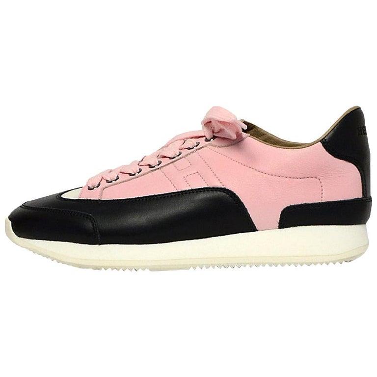 Hermes Rose Aube Pink/Black/White Calfskin Goal Sneakers sz 37.5 rt $1,000 For Sale