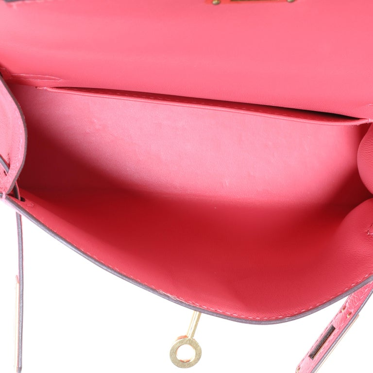 Pink Hermès Rose Azalee Chévre Mini Kelly 20 II GHW For Sale