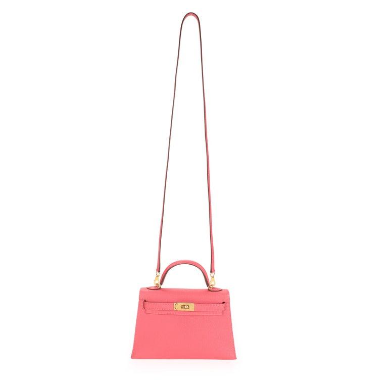 Women's Hermès Rose Azalee Chévre Mini Kelly 20 II GHW For Sale