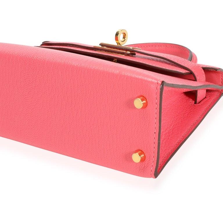 Hermès Rose Azalee Chévre Mini Kelly 20 II GHW For Sale 1