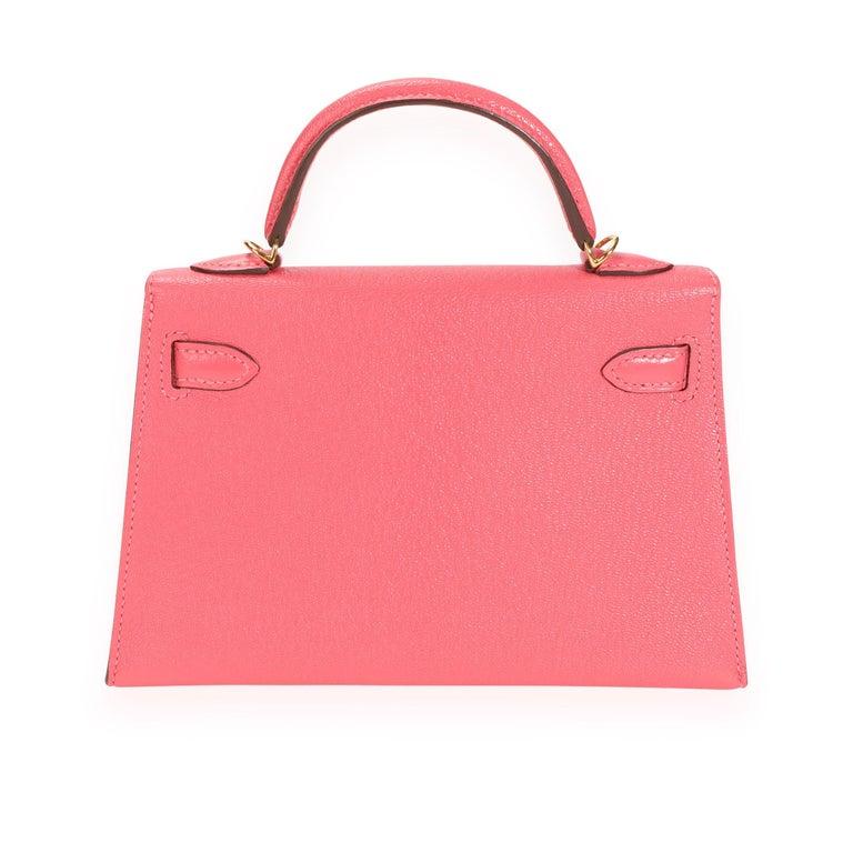 Hermès Rose Azalee Chévre Mini Kelly 20 II GHW For Sale 2