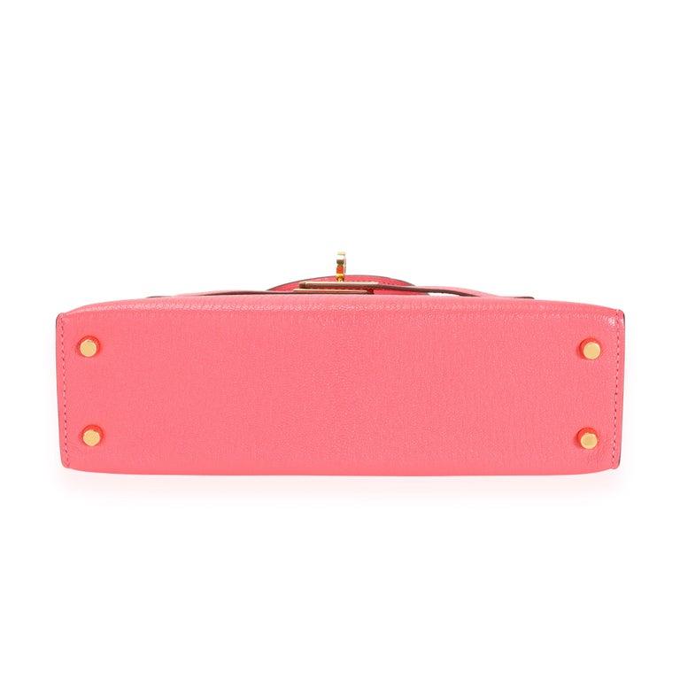 Hermès Rose Azalee Chévre Mini Kelly 20 II GHW For Sale 3