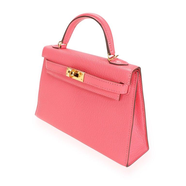 Hermès Rose Azalee Chévre Mini Kelly 20 II GHW For Sale 4