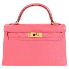 Hermès Rose Azalee Chévre Mini Kelly 20 II GHW