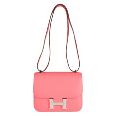Hermès Rose Azalee Evercolor Constance 18 PHW