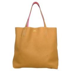 Hermes 2020 Rose Azalee Pink/ Sesame Reversible Leather Double Sens 36 Tote Bag