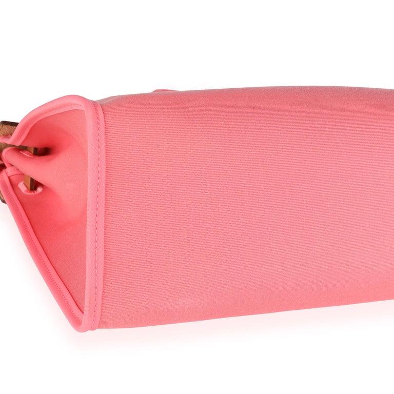 Pink Hermès Rose Azalee Toile & Naturel Vache Hunter Herbag Zip 31 PHW For Sale