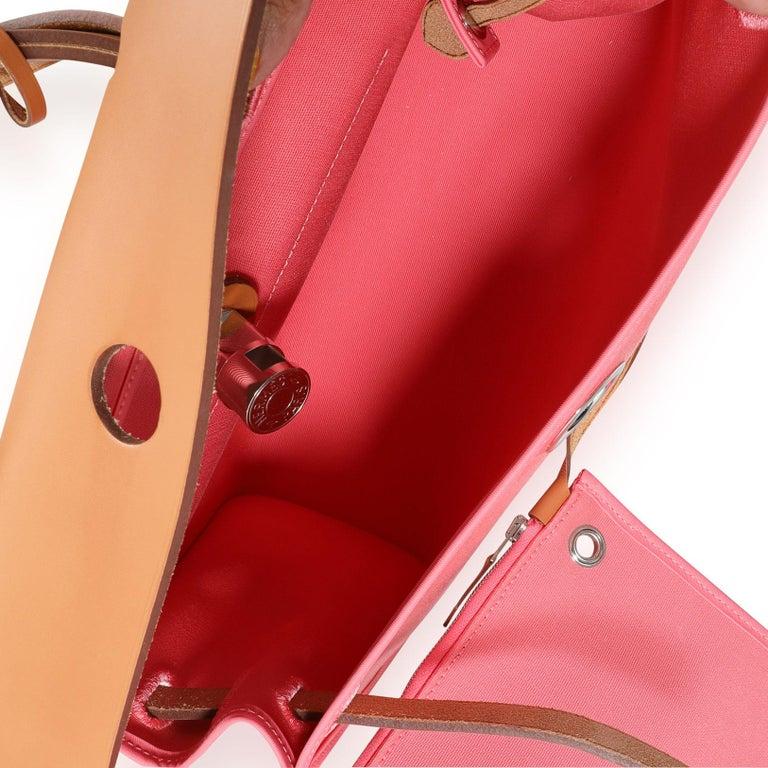 Hermès Rose Azalee Toile & Naturel Vache Hunter Herbag Zip 31 PHW For Sale 1