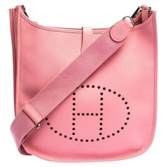 Hermes Rose Confetti Epsom Leather Evelyne III GM Bag