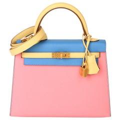 Hermès Rose Confetti, Jaune Poussin & Bleu Hydra Epsom Leather Special Order HSS