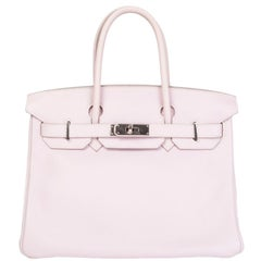 HERMES Rose Dragee pink Swift leather & Palladium BIRKIN 30 Bag
