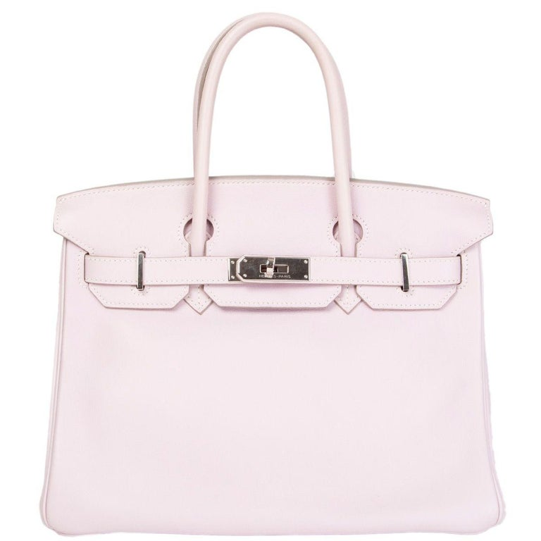 95fa50b534 HERMES Rose Dragee pink Swift leather & Palladium BIRKIN 30 Bag For Sale