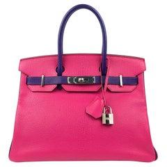 Hermès Rose Extreme and Iris Chevre 30 cm Horseshoe Birkin