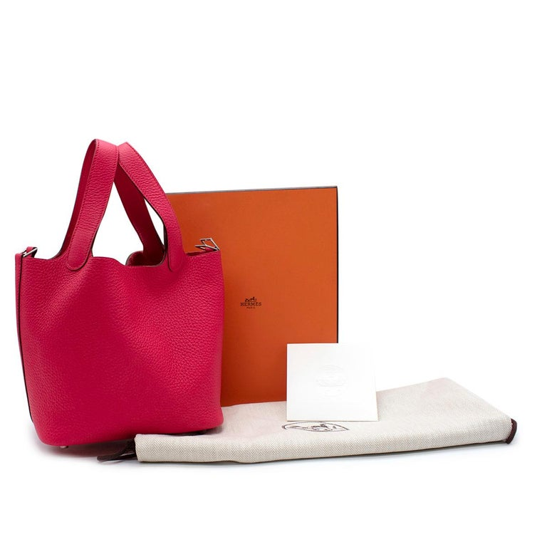 Hermes Rose Extreme Clemence Leather Picotin Lock 18 PHW  - Age Z - 2021  - Official Colour Rose Extreme - Palladium plated hardware - Original box and dust bag included with clochette lock & keys  Materials:  Taurillion Clemence leather  Shipping