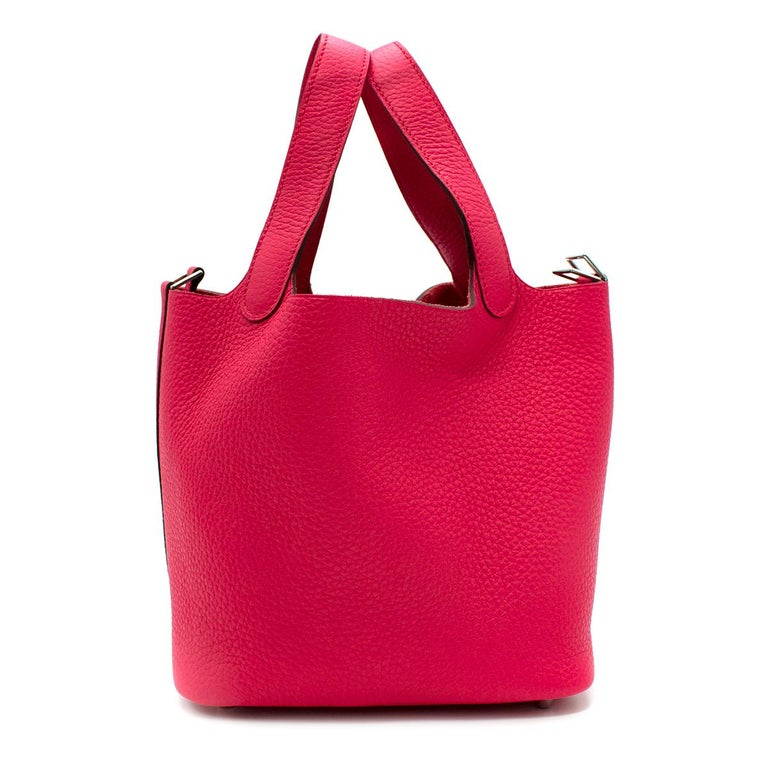 Red Hermes Rose Extreme Clemence Leather Picotin Lock 18 PHW For Sale