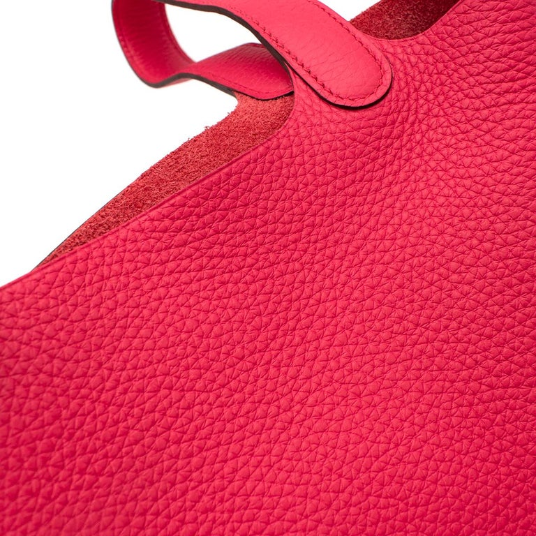 Hermes Rose Extreme Clemence Leather Picotin Lock 18 PHW For Sale 2