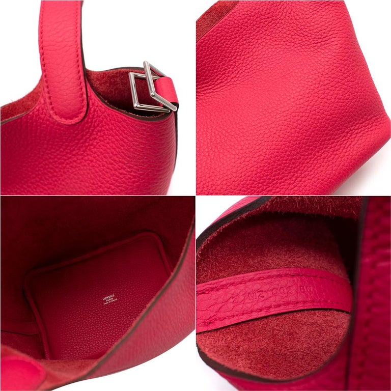 Hermes Rose Extreme Clemence Leather Picotin Lock 18 PHW For Sale 3