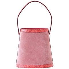Hermes Rose Indienne Doblis Rose Azalee Lizard Sterling Silver Lid Stromboli Bag