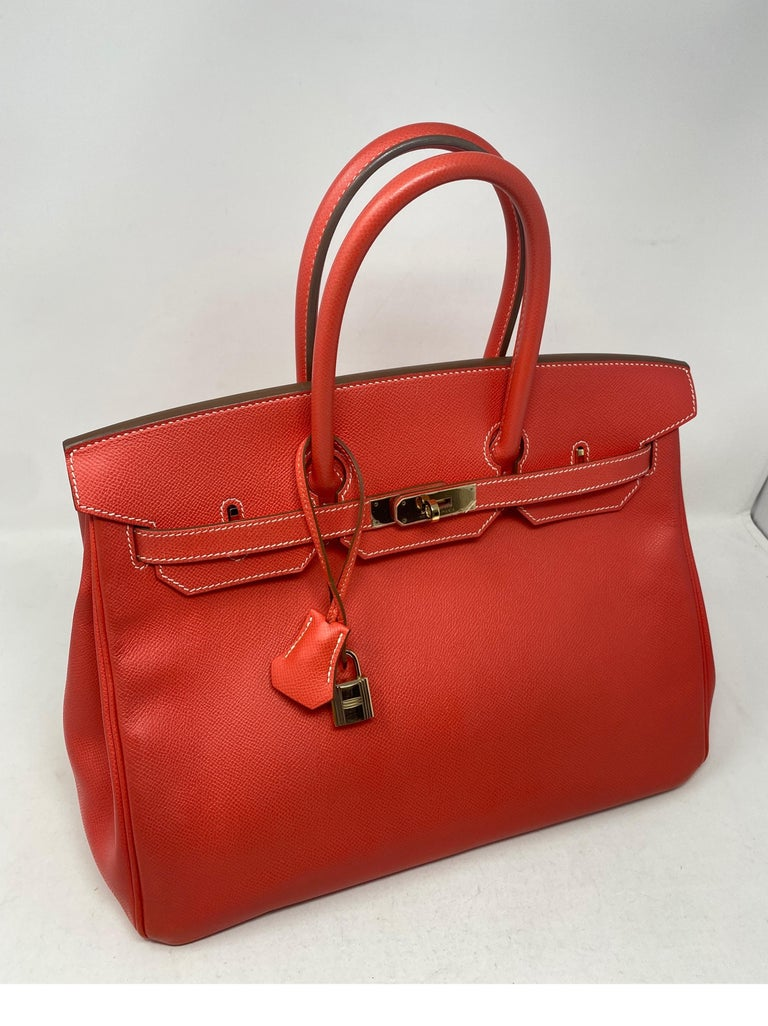 Hermes Rose Jaipur Candy Birkin 35 Bag. Epsom leather. Gold hardware. Excellent condition. Plastic still on hardware. Inside color is gold tan. Rare and limited combo. Includes clochette, lock, keys, and dust cover. Guaranteed authentic.