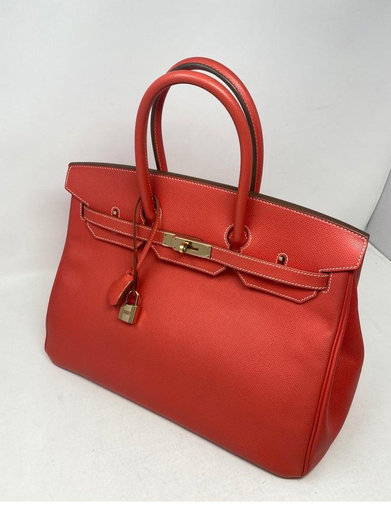 Red Hermes Rose Jaipur Candy Birkin 35 Bag For Sale