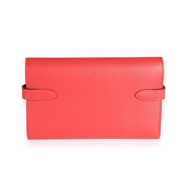 Listing Title: Hermès Rose Jaipur Epsom Kelly Depliant Medium Wallet GHW SKU: 112281 MSRP: USD 3,425.00 Condition: Pre-owned (3000) Condition Description:  Handbag Condition: Very Good Condition Comments: Very Good Condition. Plastic on hardware.