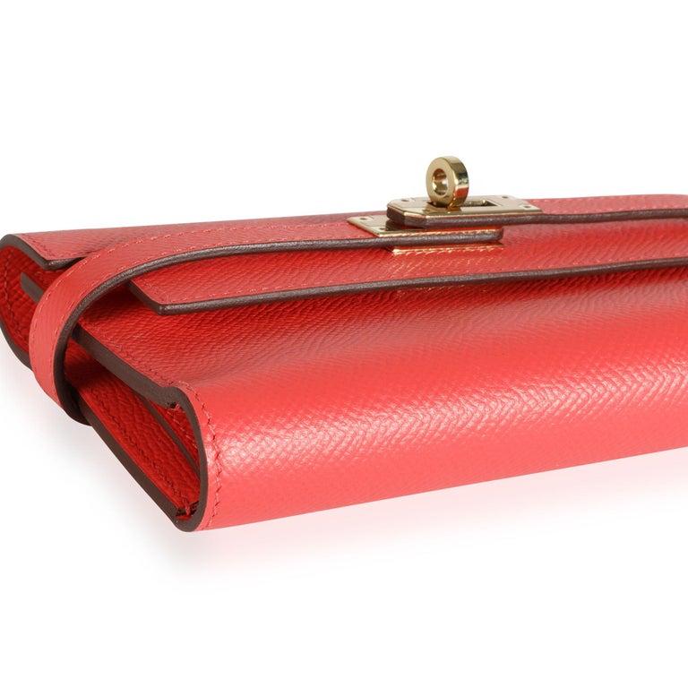 Red Hermès Rose Jaipur Epsom Kelly Depliant Medium Wallet GHW For Sale