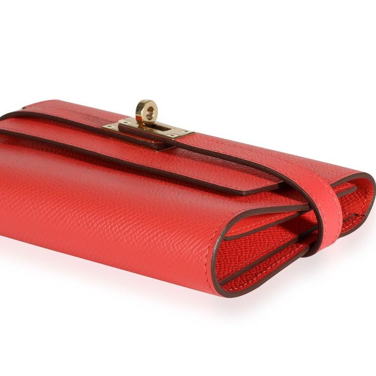 Hermès Rose Jaipur Epsom Kelly Depliant Medium Wallet GHW In Good Condition For Sale In New York, NY