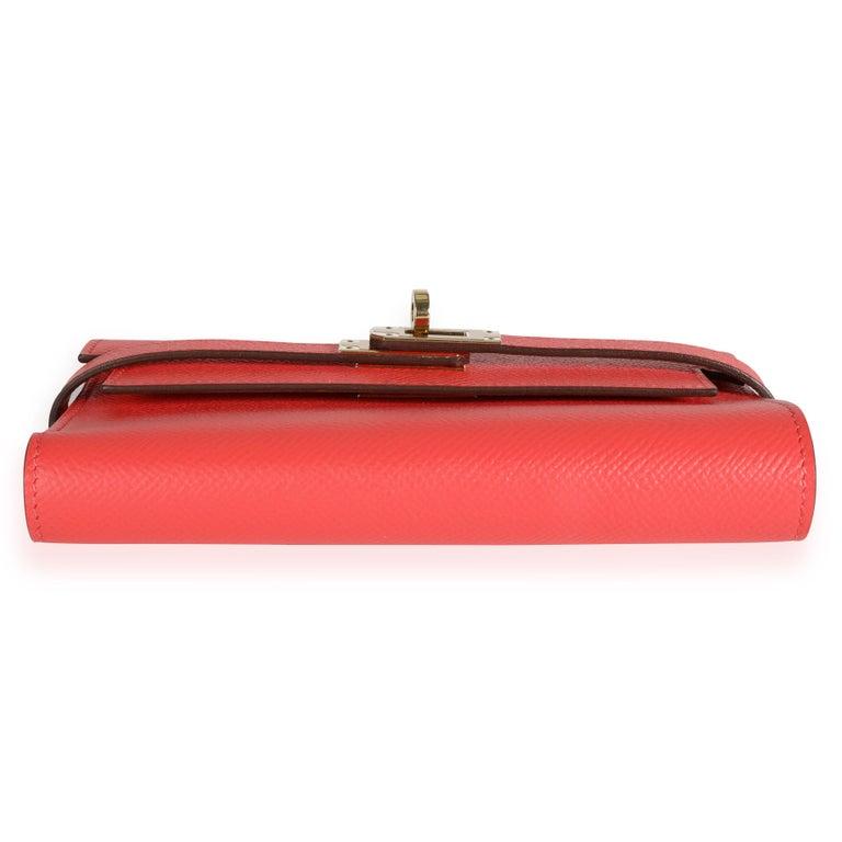 Women's Hermès Rose Jaipur Epsom Kelly Depliant Medium Wallet GHW For Sale