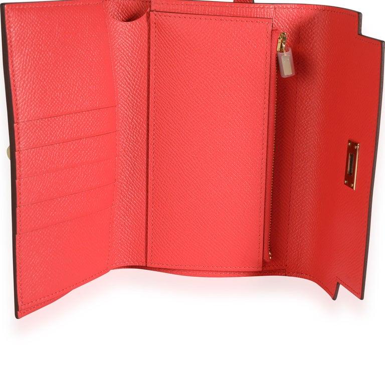 Hermès Rose Jaipur Epsom Kelly Depliant Medium Wallet GHW For Sale 1