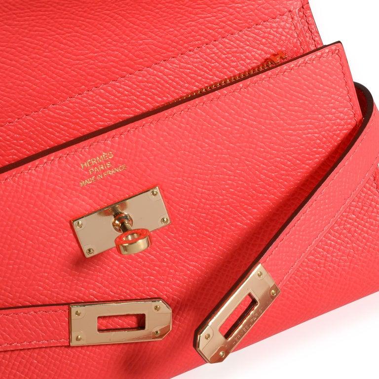 Hermès Rose Jaipur Epsom Kelly Depliant Medium Wallet GHW For Sale 2