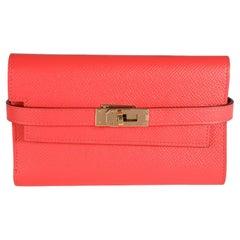 Hermès Rose Jaipur Epsom Kelly Depliant Medium Wallet GHW